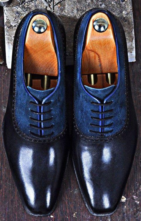 Men+Handmade+Shoes,+Blue+Lace
