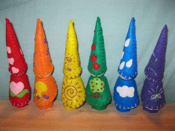 Gnomes made by http://harrishomeschool.blogspot.com/ but inspired by a Wee Folk Art tutorial  http://weefolkart.com/content/big-gnomes-little-hands-delivered