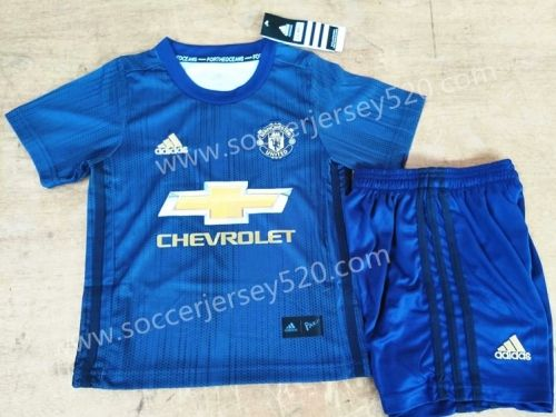 2018 19 Manchester United 2nd Away Dark Blue Kids Youth Soccer Uniform Cheap Football Shirts Youth Soccer Kids Soccer