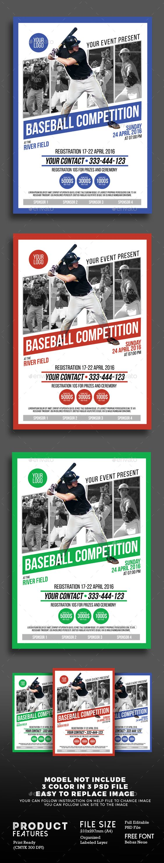 Baseball Competition Poster Flyer Template PSD. Download here: http://graphicriver.net/item/baseball-competition-poster-flyer/15737234?ref=ksioks