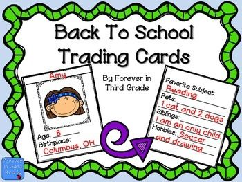 Back to School FreeBack To School Free Trading Cards: I love these trading cards for the first few days of school! They are the perfect activity for when I need a few minutes of time. Each student will make cards featuring themselves for each classmate.