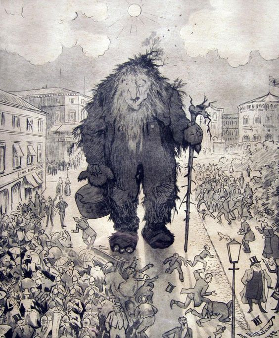 In a popular etching by the Norwegian artist Theodor Kittelsen, Henrik Ibsen walks slowly with a gentle Troll in the main street of Oslo whilst the panic-stricken population flees the giant.: