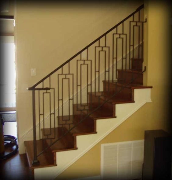 Metal stair railing picture ideas and interior stairs on for Indoor balcony railing