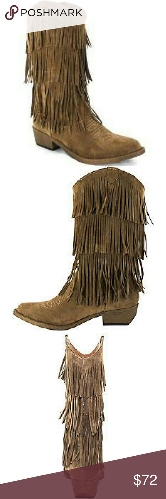 Taupe Suede Fringe Boots This low heeled fringed boot is sure to turn heads! Crafted with a Western-inspired silhouette, it's ideal for pairing with any outfit.  Under 1-in. platform; 1.5-in. heel; 9.75-in. shaft height; 13.75-in. calf circumference Pull-on Pointed toe Padded insole Upper: faux suede; Lining: faux suede Wipe with Damp Cloth Imported starlight footwear  Shoes Ankle Boots & Booties