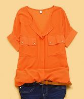 Orange Solid Round Neck Batwing Short Sleeve Chiffon Shirt