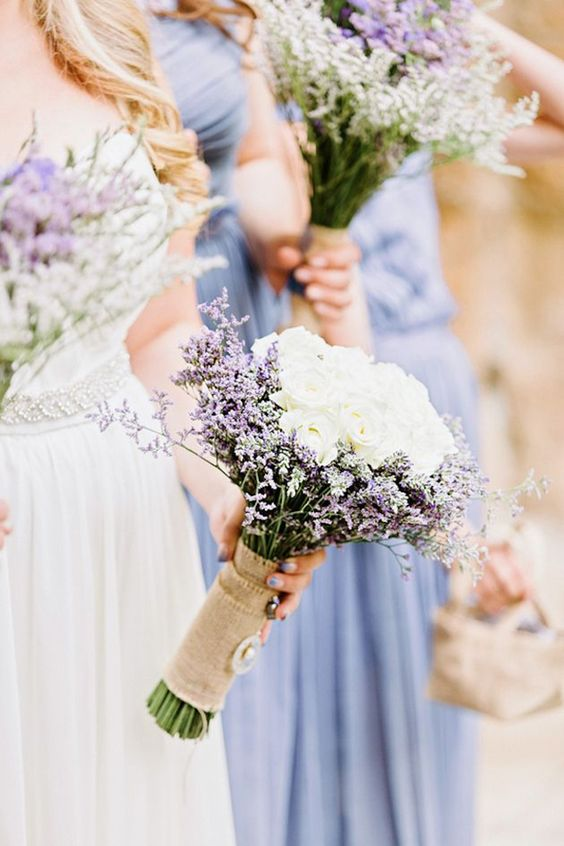 rustc lavender and rose wedding bouquets wrapped in burlap