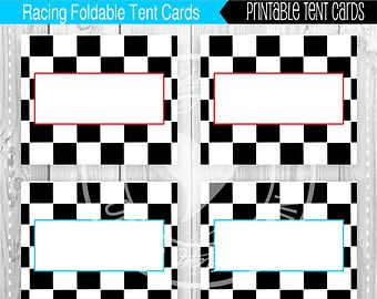 printable racing party tent cards - buffet cards, food tag labels, Powerpoint templates