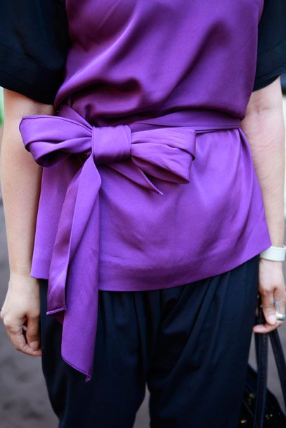 purple bowwwww Slideshow: Street Style From the Yayoi Kusama for Louis Vuitton Launch -- The Cut