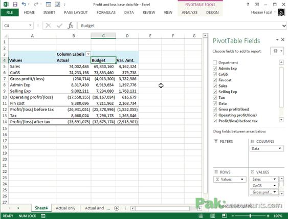 Budget Vs Actual - Analyzing Profit and Loss Statements in Excel - profit and loss template