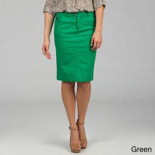Tabeez Women's Colored Knee-length Twill Denim Skirt | Denim ...