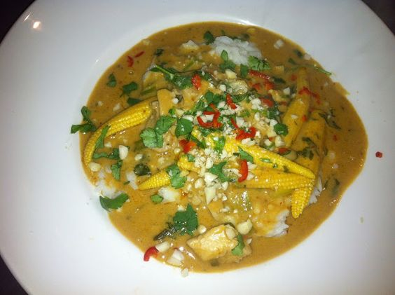 Thai Peanut Curry with Chicken ***** subbed: cilantro, green onions ...