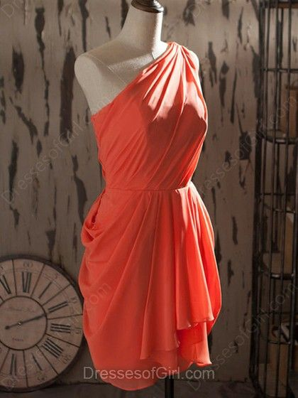 Sheath/Column One Shoulder Chiffon Knee-length Ruffles Bridesmaid Dresses #DGD01012540