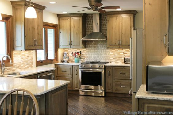 Davenport, IA remodeled kitchen with grey cabinets and Stainless appliances. | VillageHomeStores.com