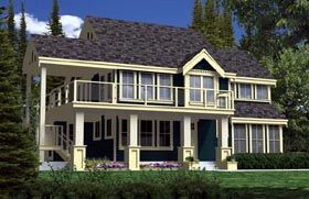Contemporary Craftsman Traditional House Plan 74016 Elevation