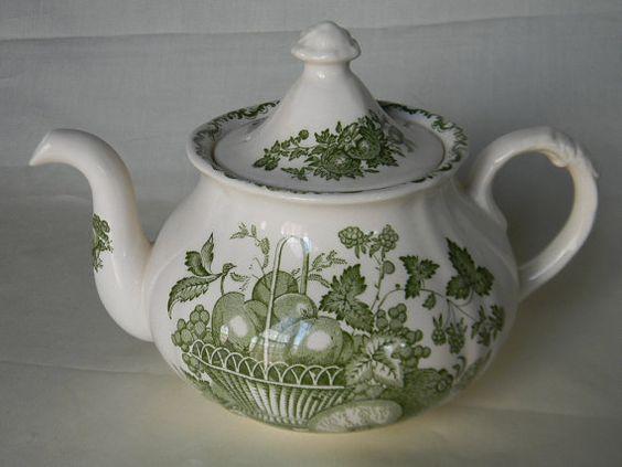 Vintage Green English Transferware Teapot Fruits in a Basket