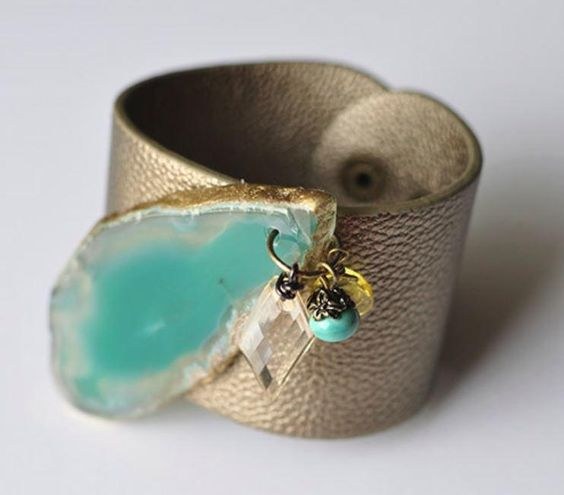 I'm drooling over this Aqua Gemstone Leather Cuff. I especially love the gold edging on the stone!: