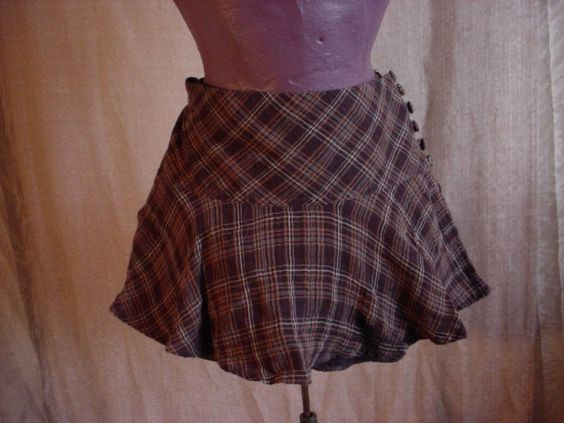 H & M Mini Skirt Brown sz 4 Plaid Bias Cut Flared Hem Self Lined Low Rise Cotton #HM #Mini