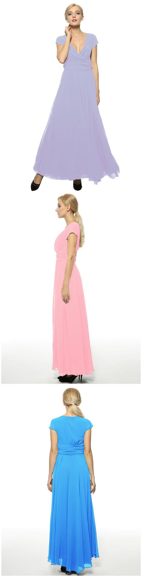 Elegant Surplice V Neckline Maxi Chiffon Dress