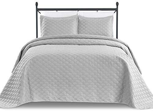 Amazon Com Basic Choice 3 Piece Oversized Quilted Bedspread Coverlet Set Light Gray King California King Home Kitchen Bed Spreads Coverlet Set Bed
