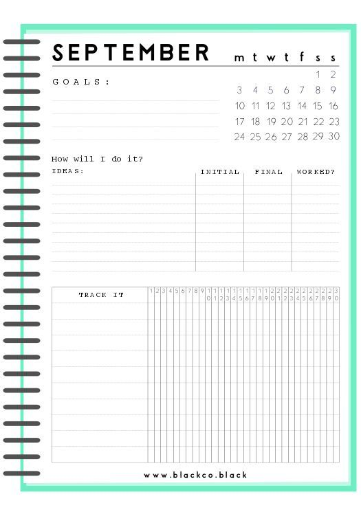 Monthly Goals Planner January Get Your Monthly Freebies Goals