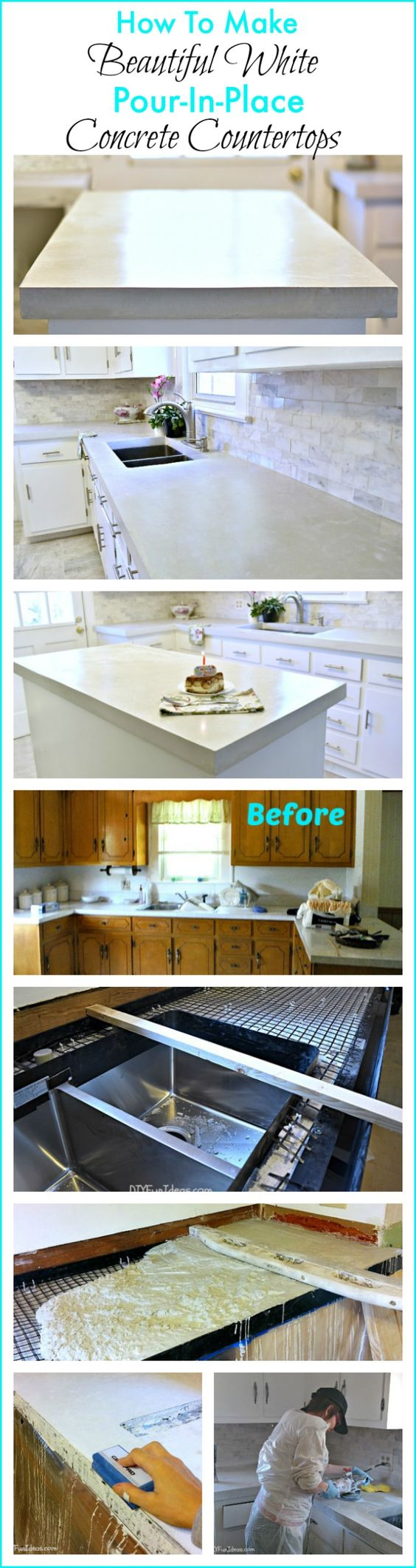 You can save thousands of $$ by making your own countertops!!! This is the easiest system for DIY concrete countertops. There are no forms to build. Instead, you cut a cement board base to fit over the cabinets and screw in some plastic edging,  then pour in your concrete. The entire project was done by one lady, with just a little help from another to mix the concrete. If I can do it, anyone can. .........one of the most popular pins