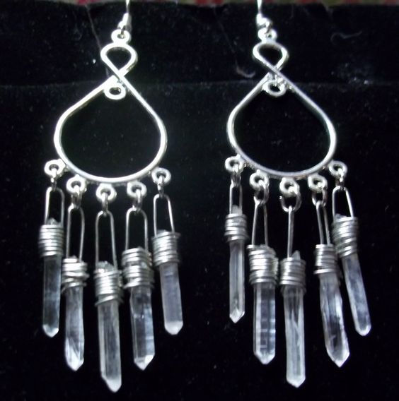 Quartz crystal chandelier earrings. Beautiful Handmade healing crystals. by JewelsOTE on Etsy