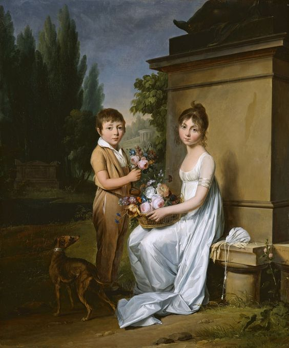 Louis-Léopold Boilly, Marie-Catherine et Eugène Giroust dans un parc, ca.1803: