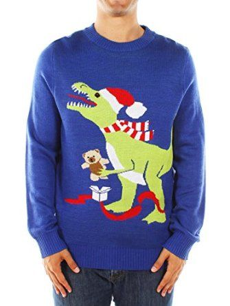 Men's Christmas Jumper - T-rex Jumper Blue by Tipsy Elves