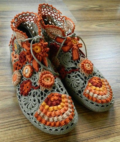OH! Souliers au crochet, OH ! que de Beautés ! http://crochetknitunlimited.blogspot.be/2014/06/unusual-irish-lace.html - Crochet/FleurBelge