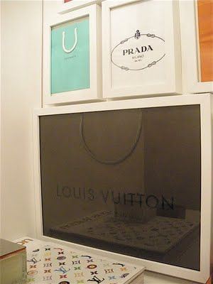 framing shopping bags - love this idea! ( Would look so good on a wall in our Master Closet)