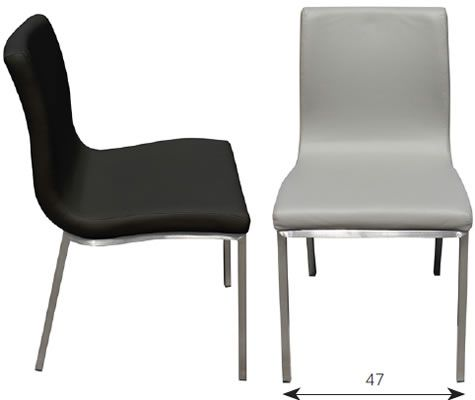 Alyson kitchen dining chair black faux leather brushed for Leather and steel dining chairs