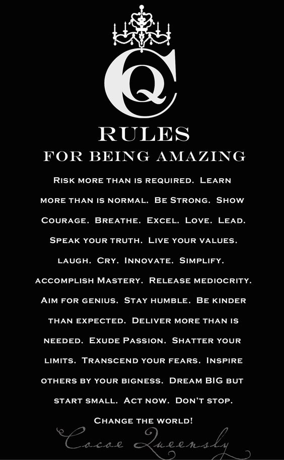 Cocoe Queensly Living:  Rules for Being Amazing.