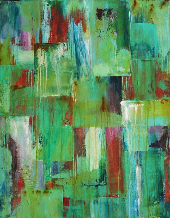 monochromatic acrylic painting teal | Copper Age - Abstract Acrylic Painting, teal, red orange, rust ...