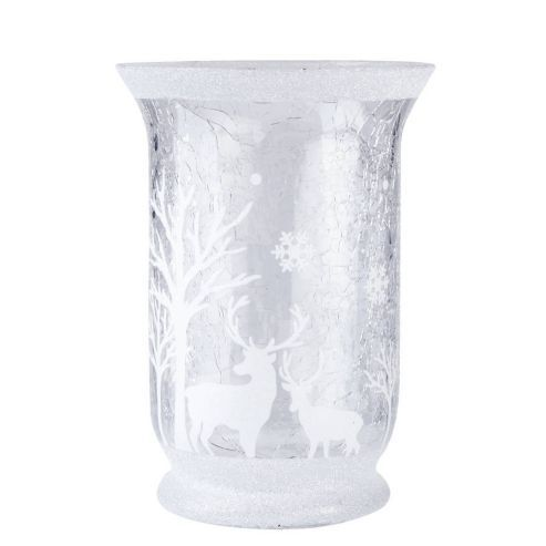 Large Glass Woodland Scene Christmas Candle Holder