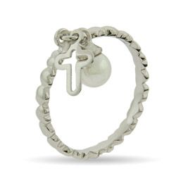 """My mother's stackable ring:  between mine & """"E"""" - Cross and Pearl Charm Silver Stackable Ring $26 (evesaddiction.com)"""