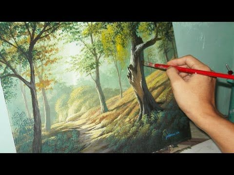 Acrylic landscape painting lesson forest trees by for Acrylic brush techniques