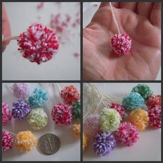 Itty bitty pom poms made on a fork. Clever!