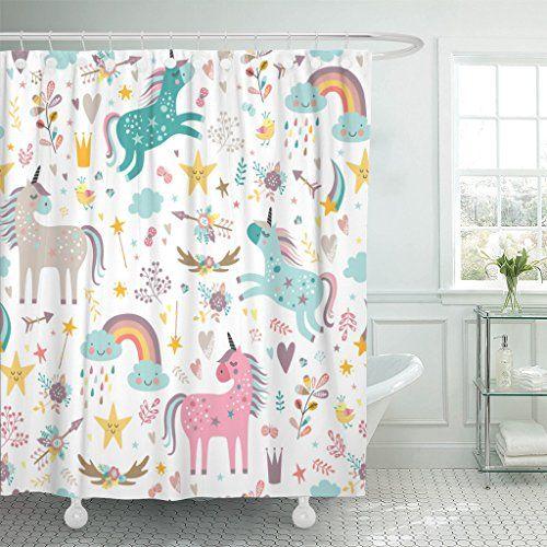 Emvency Shower Curtain Blue Pattern Unicorns Pink Baby Gi Https