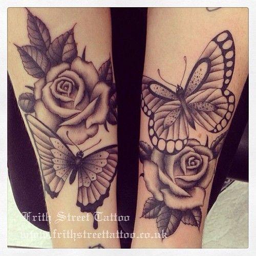 butterfly rose tattoo.....like the rose shapes #funny #joke