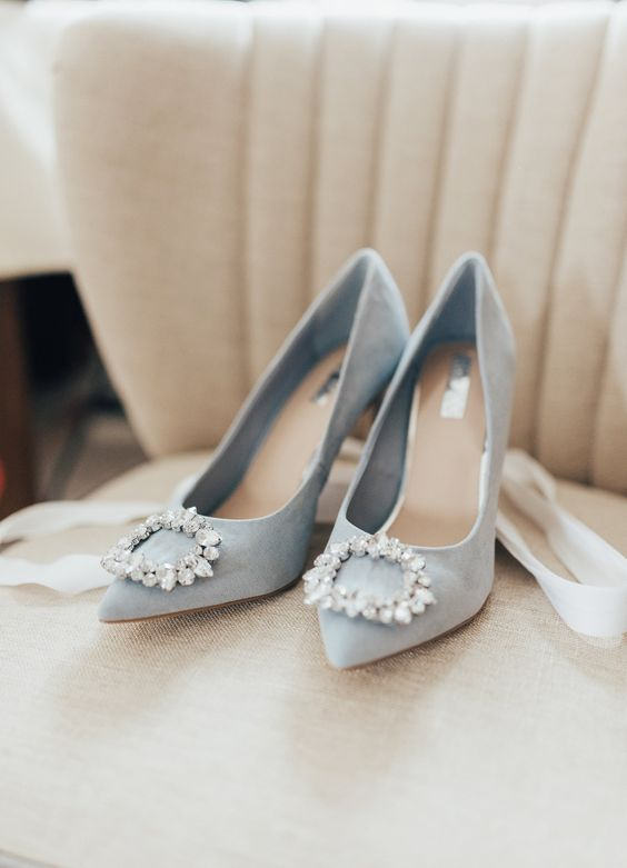 Pale blue suede shoes with diamante detail. Images by Rebecca Carpenter.