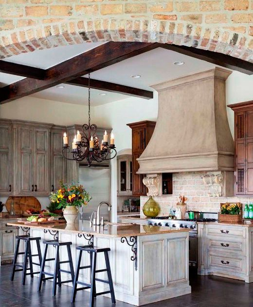 French Provincial Kitchen Cabinets: Distressed Finish Cabinets French Country Kitchen