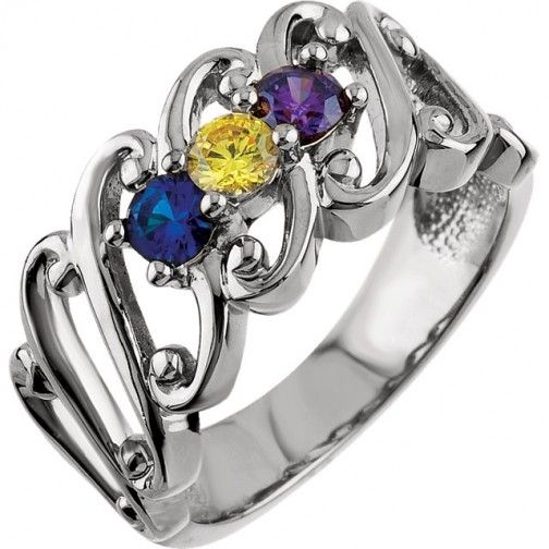 3 Birthstone Wide Mothers Ring