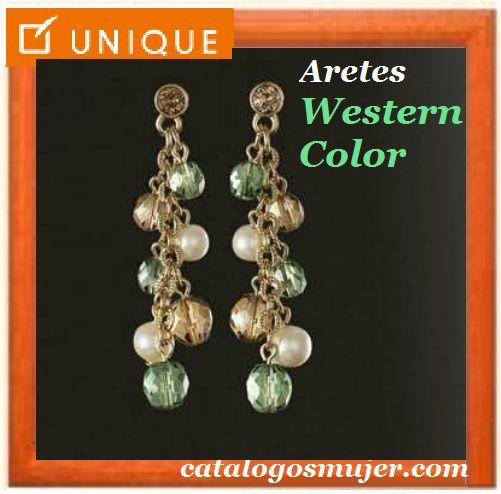 Aretes WESTERN COLOR Baño en Oro 24k con cuencas perlas y verdes  de alta bijouterie 60%*Precio Oferta S/.49.90