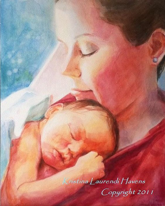 Watercolor portrait painting of a mother holding her newborn baby by artist Kristina Laurendi Havens