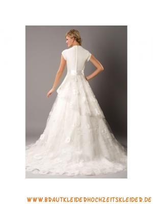 Satin trendiges neues Brautkleid aus Organza Bodenlang A-Linie kurze Ärmel
