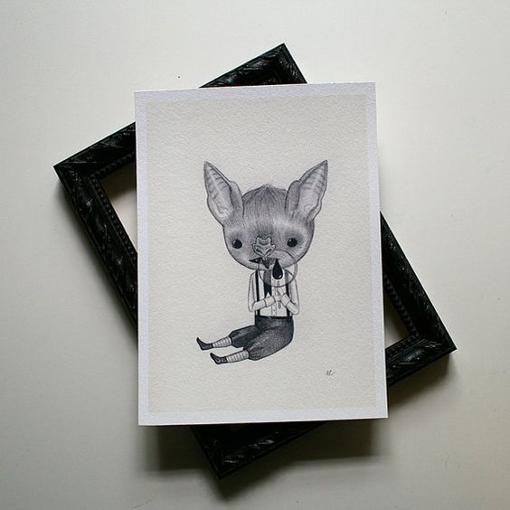 Baby Bat boy  archival print by woolandwater on Etsy