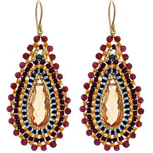 Love the colors! Miguel Ases Tear-Drop Champagne and Garnet Earrings Miguel Ases jewelry: