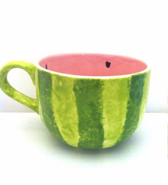 Watermelon Latte Cappuccino Mug Ceramic by ShadyLaneCeramics