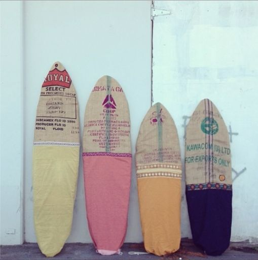 coffee sack decorated surf board drawstring covers, from summer she is