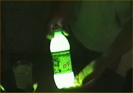 "1/4"" Mt Dew in bottle, add tiny bit of baking soda and 3 capfuls of hydrogen peroxide. Shake and it glows. Pour on sidewalk to ""paint"""